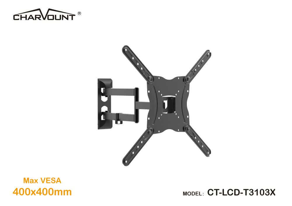 Lcd tv wall mount with 400*400mm vesa, 180 degrees swivel single arm tv wall mount bracket, up to 77LBS, articulating tv mount