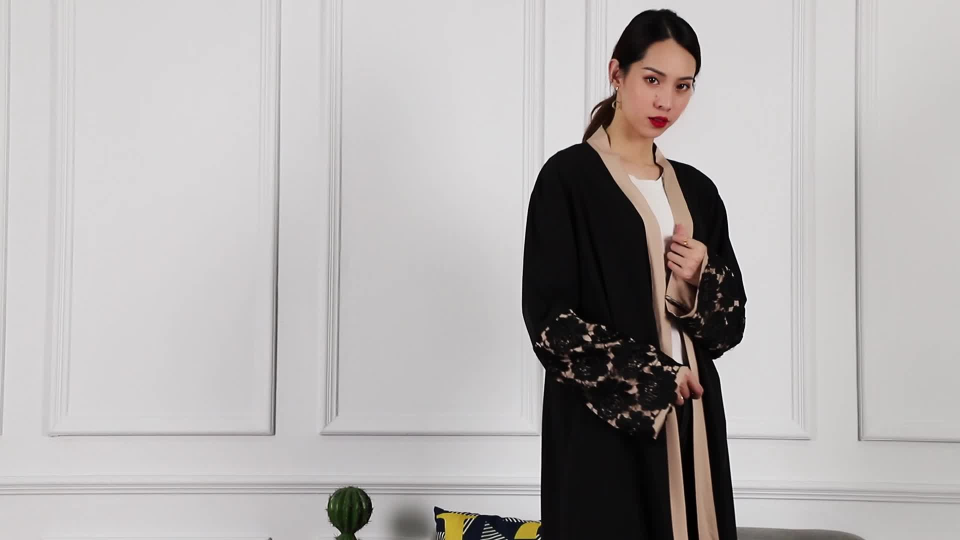 1502# 2019 Latest New Designs Embroidery Cardigan Islamic Clothing Fashion Front Open Kimono Arabic Style Dubai Muslim Abaya