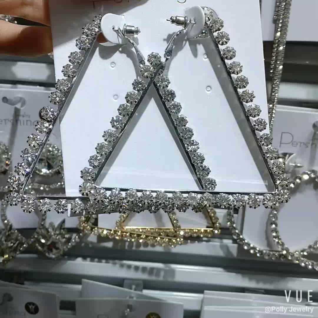 2020 New Fashion Statement Rhinestone Earrings Big Triangle Diamond Hoop Earrings For Women