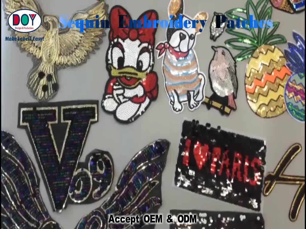 Fashion Design Custom Letters Rose Flowers Embroidery Sequin Appliques Patches for Clothing Dresses