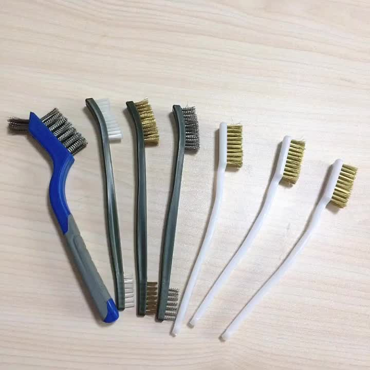 Fast Shipping Stainless Steel Plastic Handle Teeth Wire Brush Copper Plated Brass Wire Universal Hand Brush