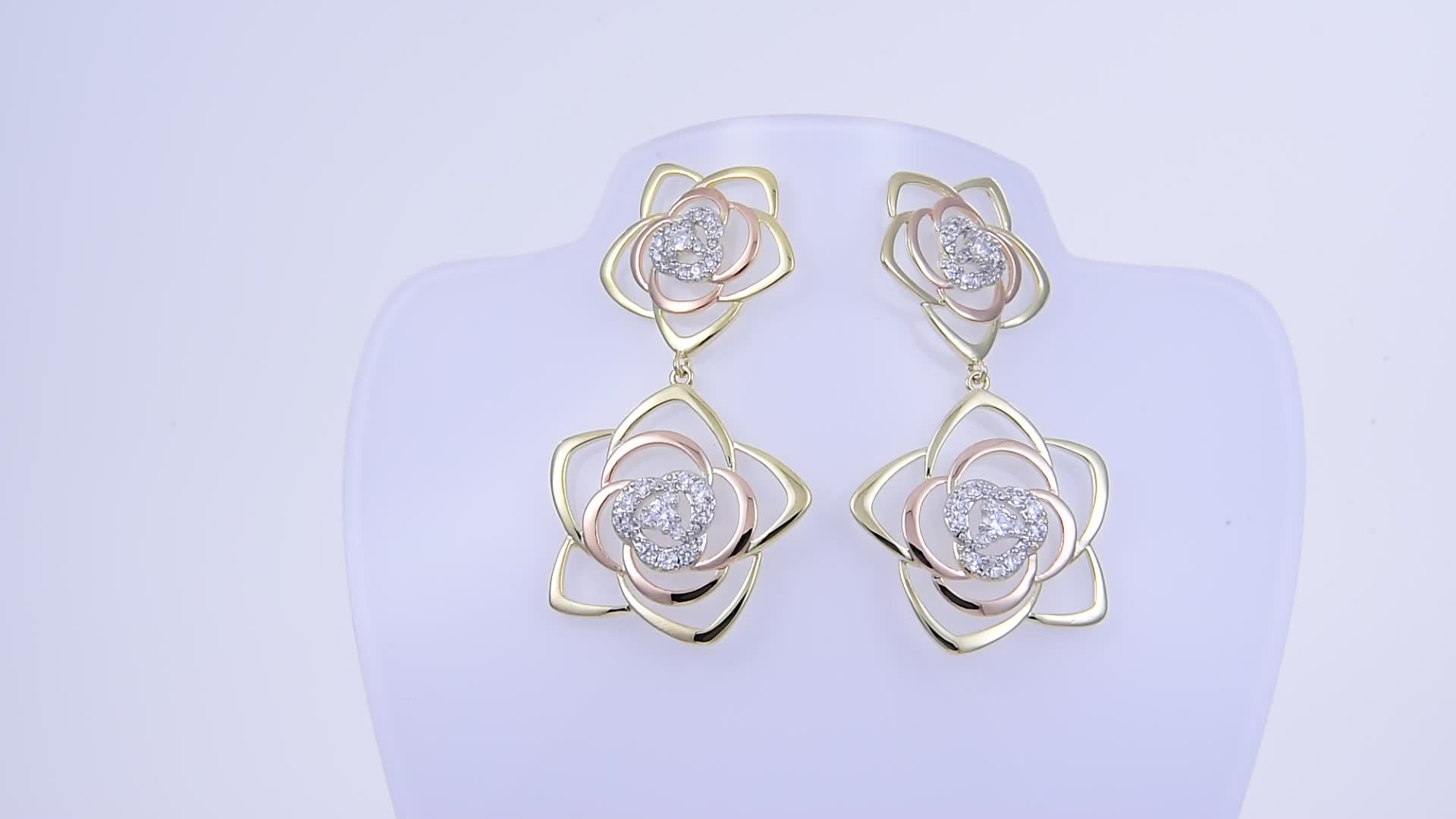 91115 Xuping jewelry fashion model earrings designs newest design double flower bridesmaid earrings