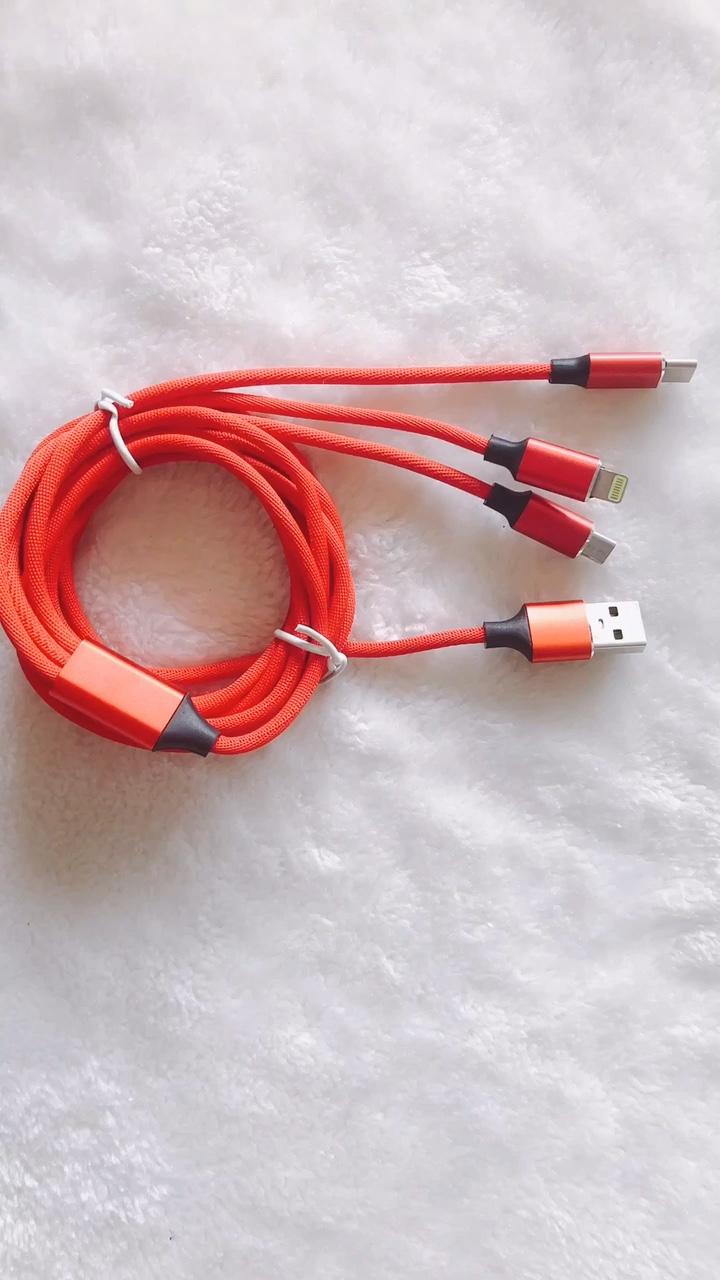 Universal adaptador de cable 3 en 1 trenzado de Nylon tipo C Micro y IOS 8-Pin Plug múltiples conectores de teléfono cable USB