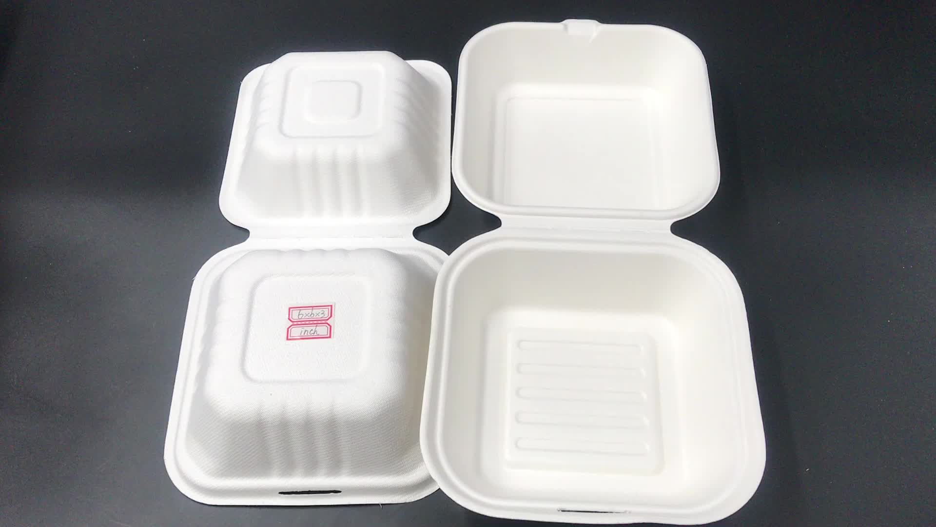 Custom eco friendly square paper box 8 inch fast food bagasse disposable biodegradable packing burger box