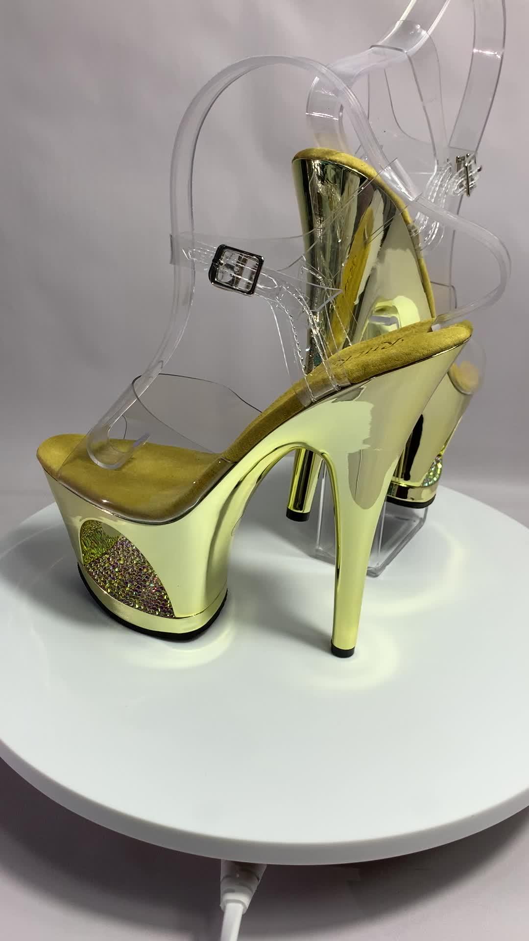 17 cm brillant diamant galvanoplastie ultra-haute avec sandales, défilé montre chaussures le club bar danse pôle chaussures chaussures de danse