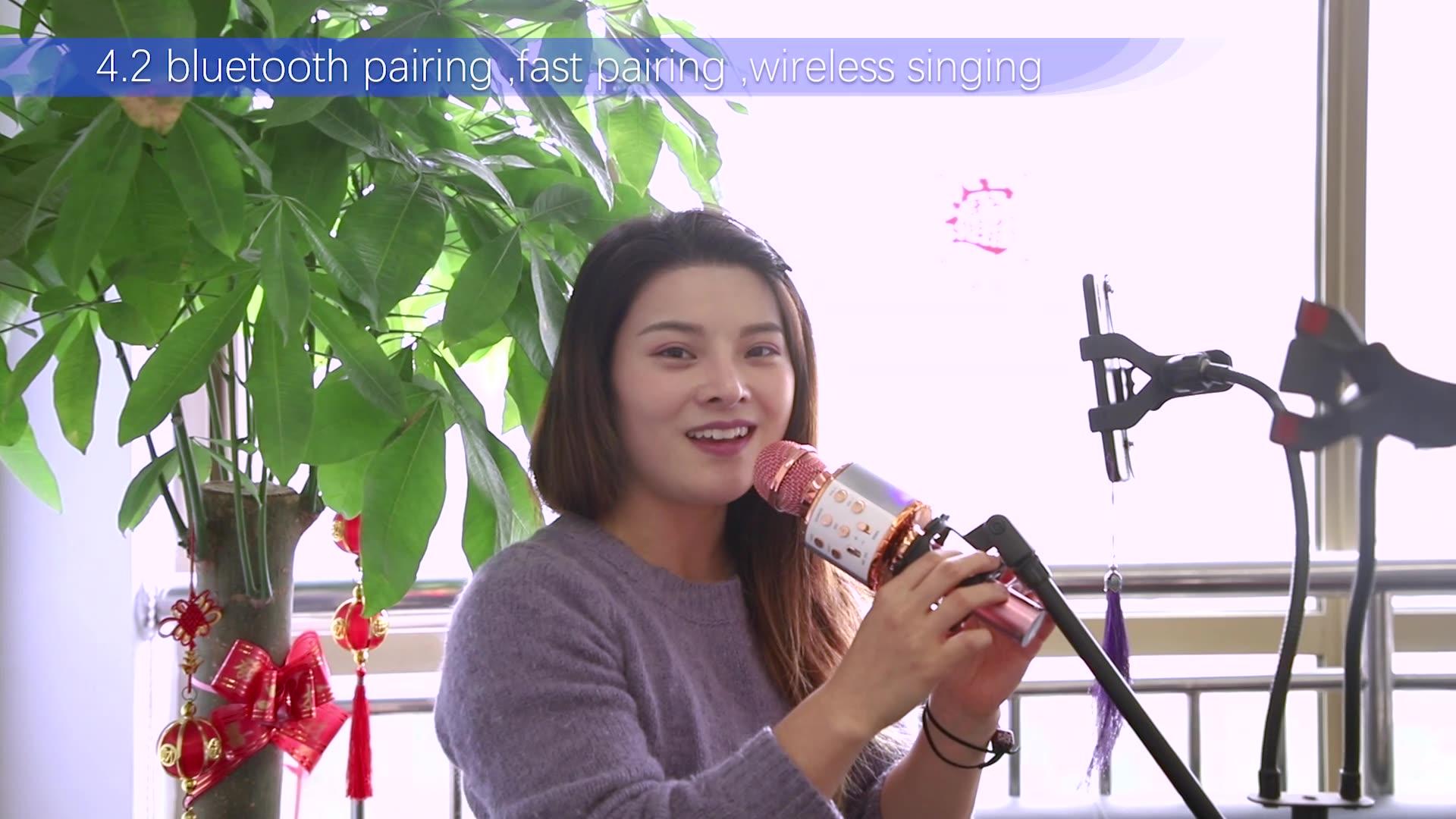 Nuovo Arrivo A Casa Del Partito di WS858 Karaoke Microfono Senza Fili Palmare BT WS-858 Microfono Con BT Speaker MIC di TF di Sostegno/USB/MP3