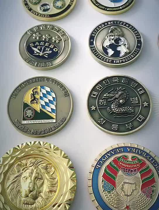 주문 금속 스탬핑 골드 황동 3d 기념품 골동품 오래된 동전