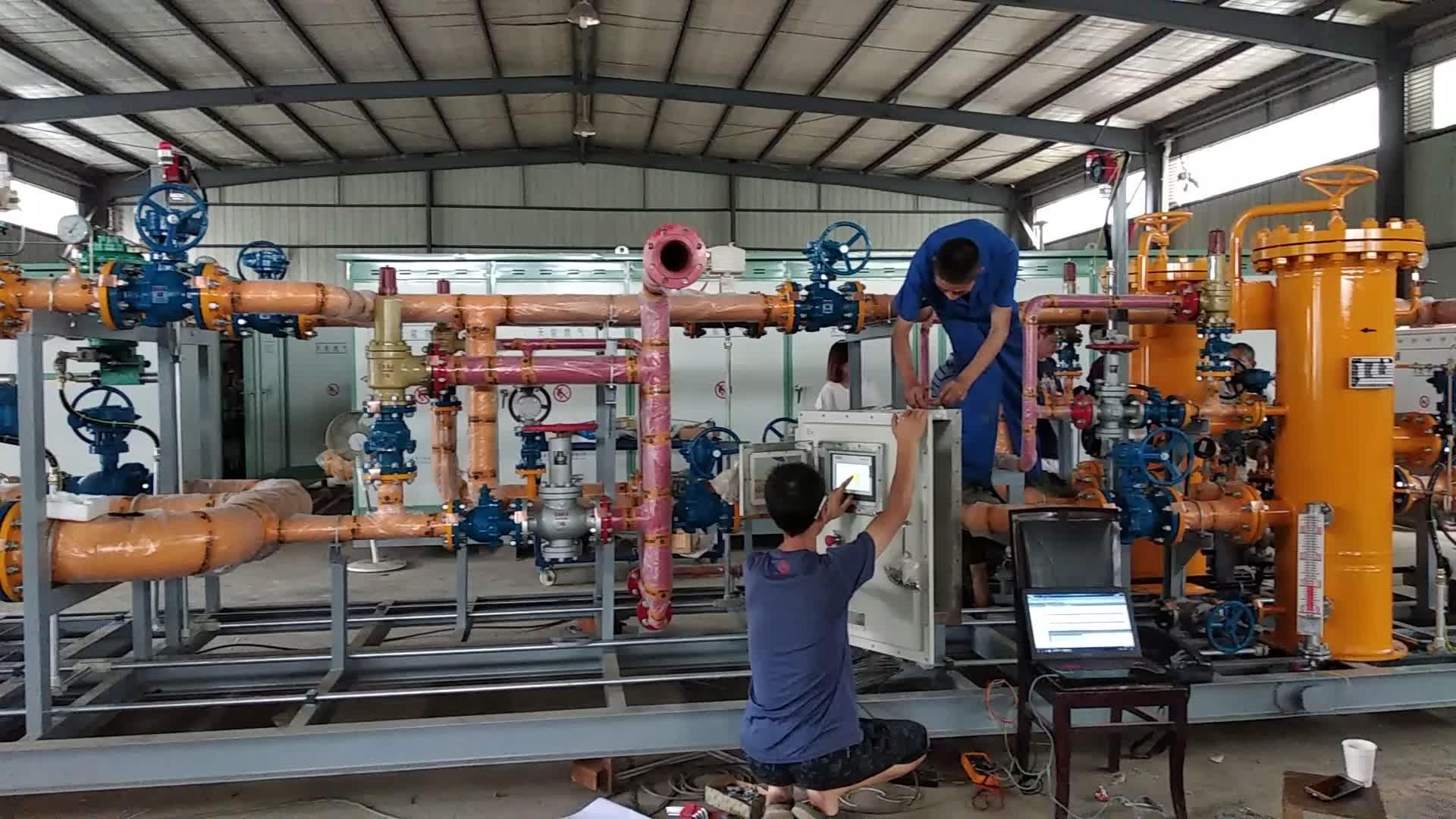 Doğal gaz basınç düzenleme 60 barlar 6 bar akış kapasitesi 3000Nm3/saat ve ölçüm istasyonu