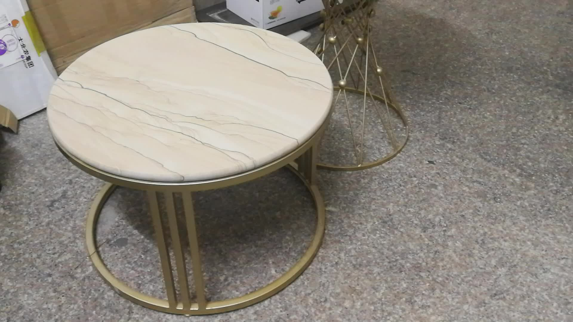 Yellow sandstone coffee table for living room