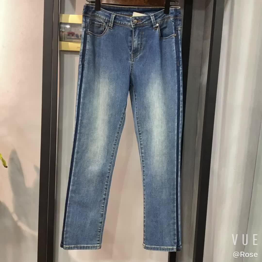 คุณภาพสูงใหม่ขายร้อนสีฟ้าสูงเอวบอลลูนผ้า DENIM Jean ผู้หญิงกางเกงยีนส์ขา