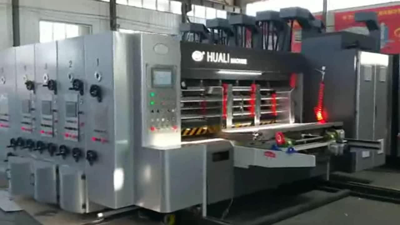 Ocean corrugated cardboard paper carton boxes  4 colors  flexo printing press manufacturing make machine for sale
