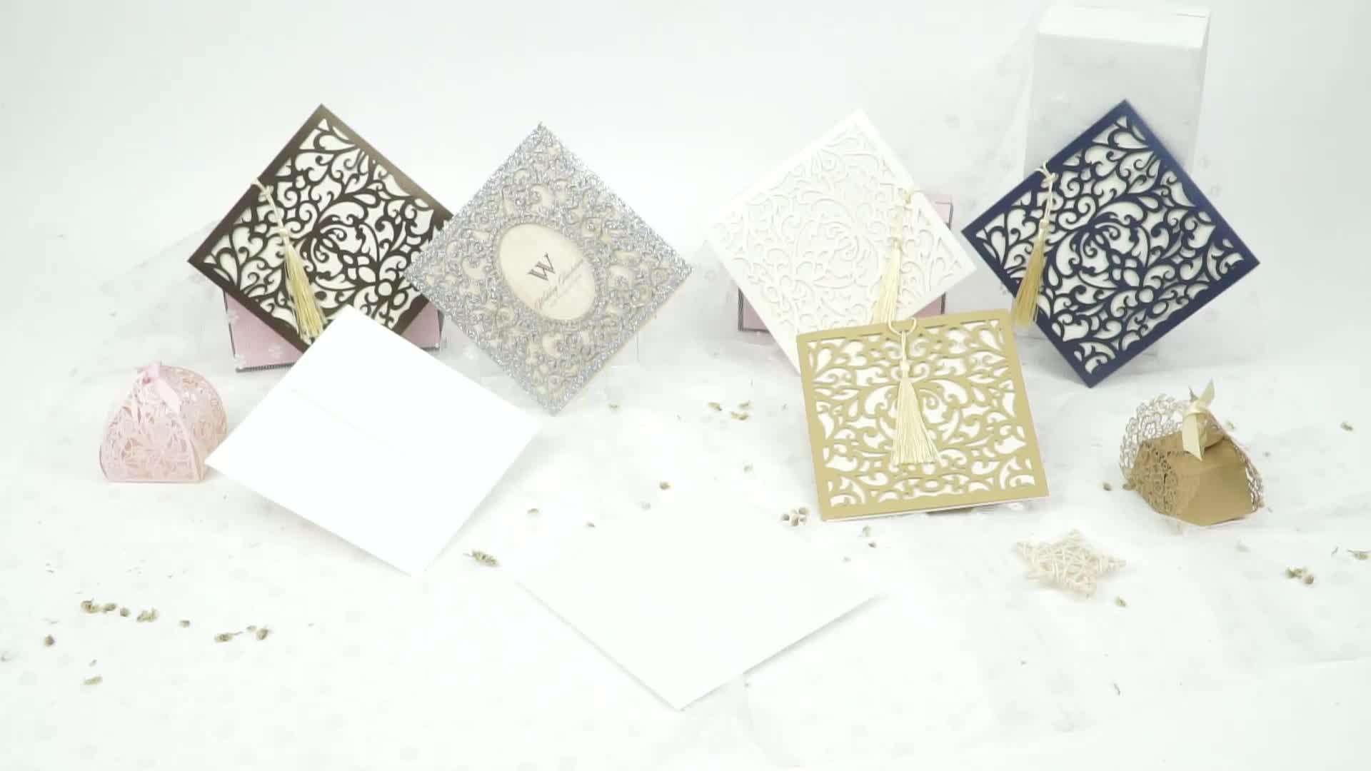 Glitter oro di Carta Dell'invito di Cerimonia Nuziale di Carta