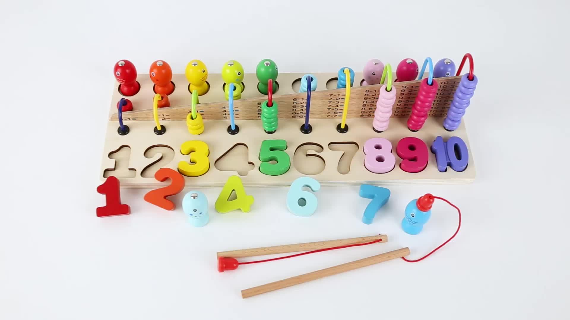 Kinderen Montessori Spelen Baby Nummer Abacus Vissen Houten Educatief Speelgoed Voor Kids