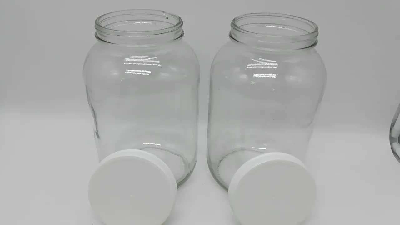 4L bouteille en verre rond large bouche bocal en verre de 1 gallon avec couvercle de fabricant de pot de maçon