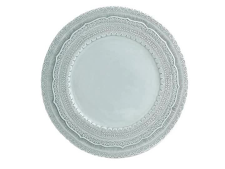 OEM chinese and western food romantic wedding 13inch lace embossed charger plate ceramic service plate for decoration
