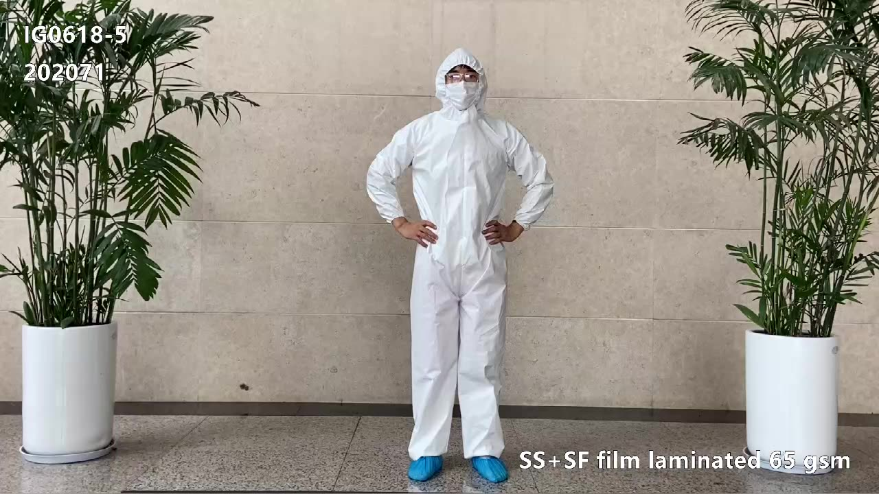 IG0618-5 / 202071 disposable white PP+SF film microporous working suit coverall suit