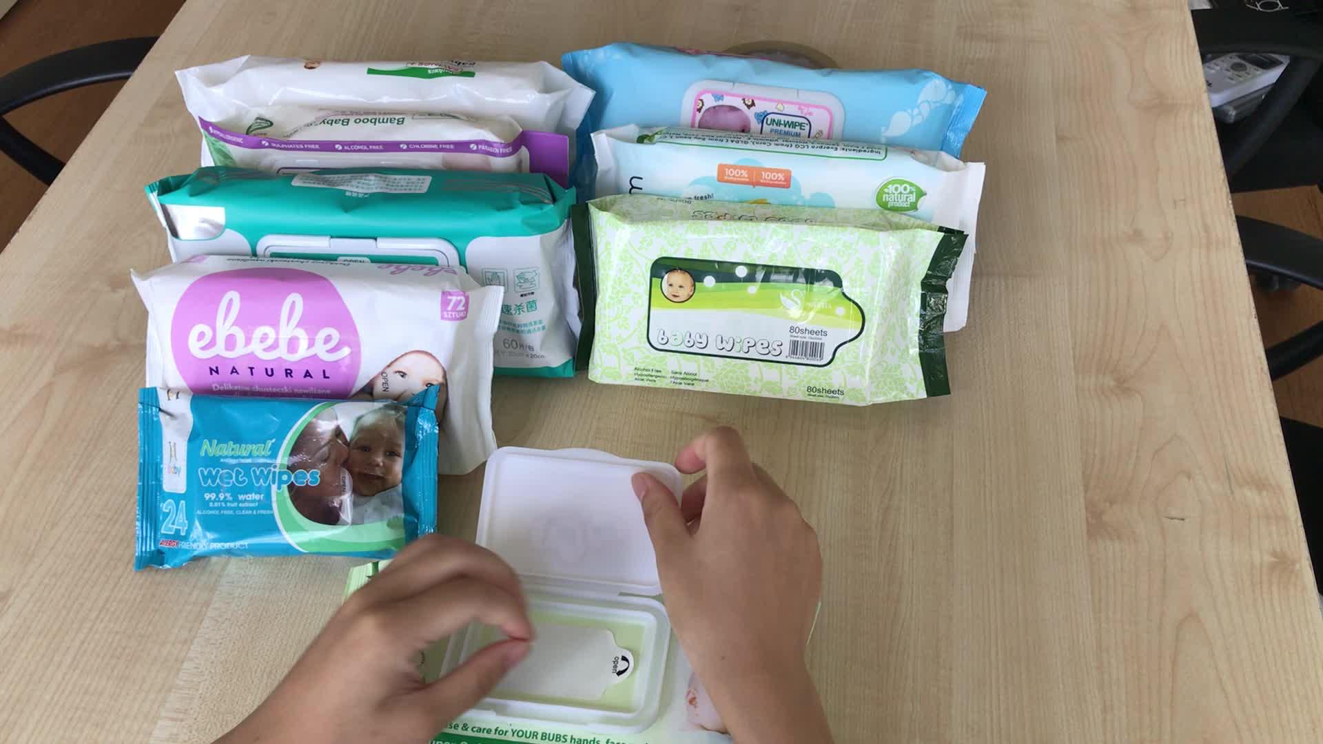 Cina Migliore Prodotto di Vendita 2019 Private Label Wholesale100 % Biodegradabile Organico Del Bambino Salviettine umidificate, salviettine umidificate all'ingrosso