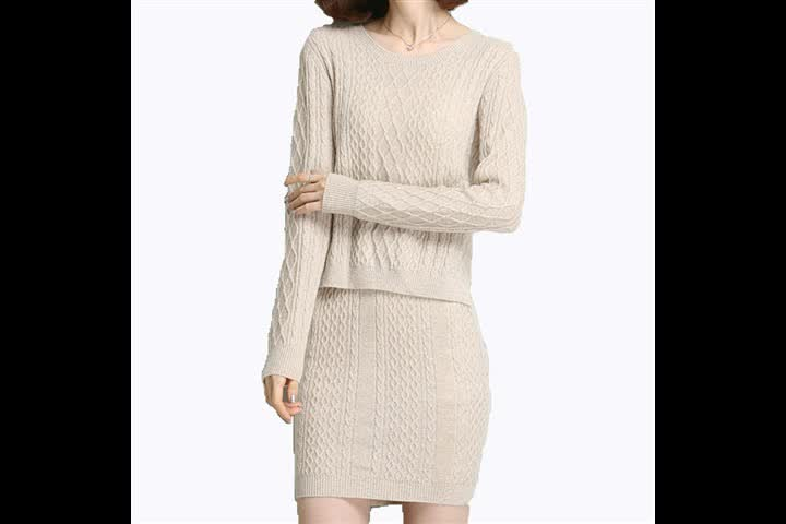 P18B067BE women's winter cashmere sports fashion slim fit sweater and skirt suits