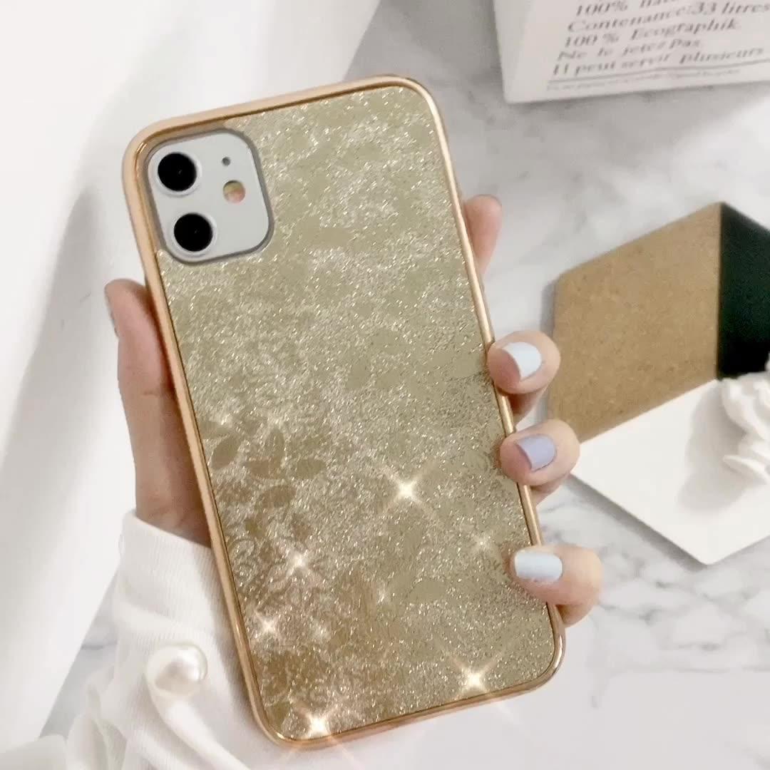 Personalizzato Placca Glitters Telefono Delle Cellule di TPU Riguarda I Casi Per il iPhone 11 Pro Max Xs Max Xr X 7 8 Più scintillio di cuoio della Cassa Del Telefono