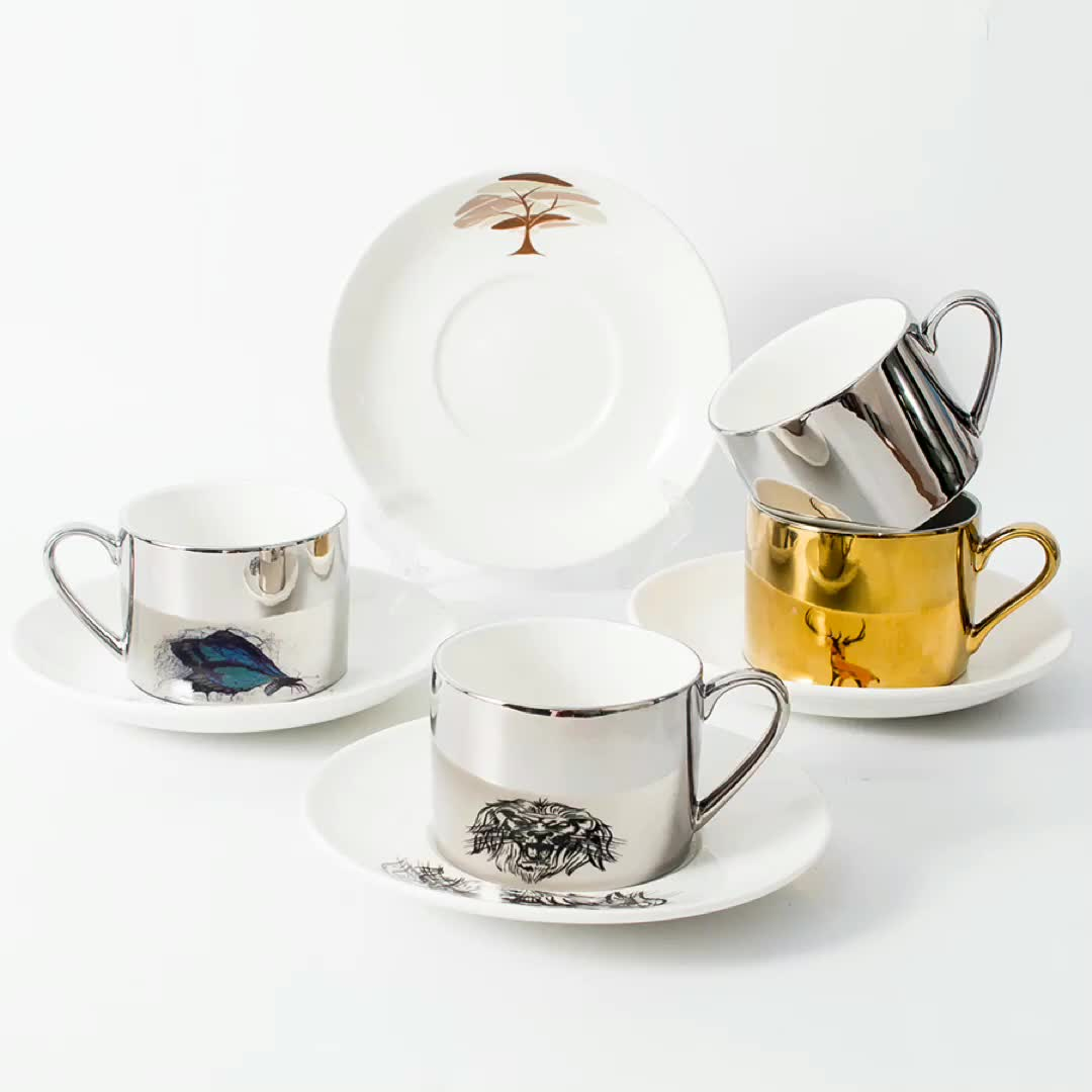 Custom handmade eco friendly reusable coffee cup ceramic unique electroplated reflection mirror cup and saucer set porcelain