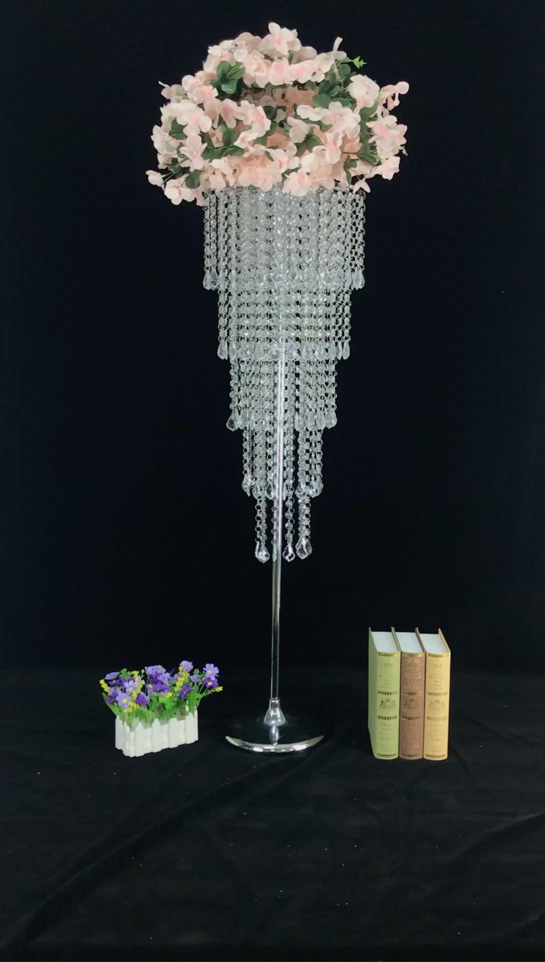 Centro de mesa para decoración de boda, mesa de boda de plata, soporte de flores, piezas centrales con hebras de cuentas acrílicas