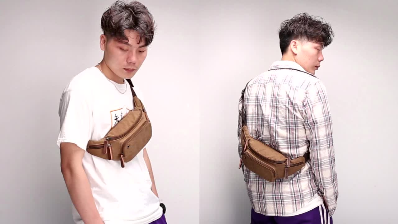 Fashion Travel Men Belt Custom Canvas Waist Bag