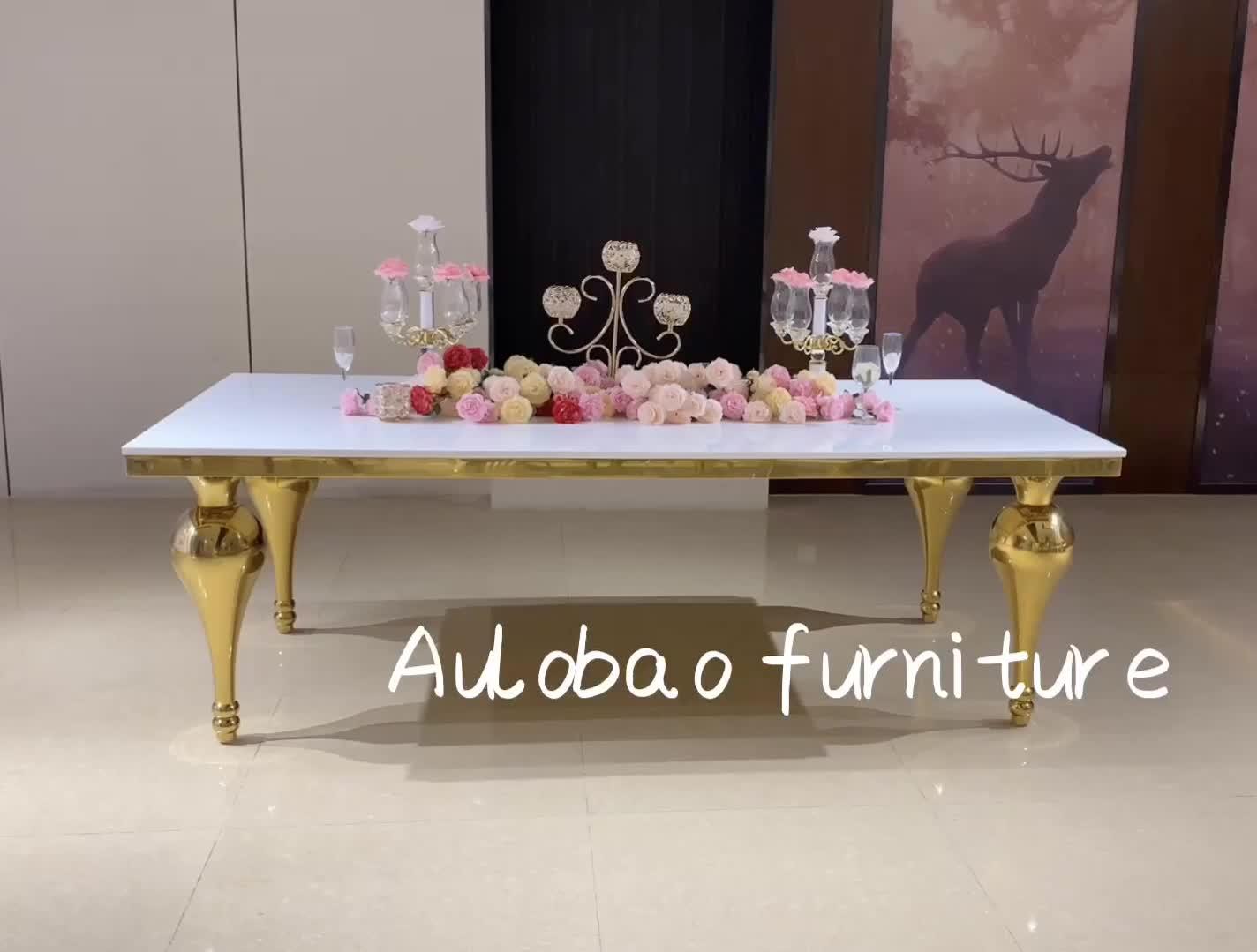 Mobiliário casamento do evento do partido usado aço inoxidável perna MDF topo da tabela do casamento