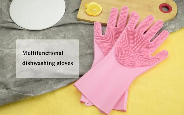 Multicolor Optional High Temperature Household Scrubber Reusable Silicone Rubber Cleaning Dishwashing Hand Gloves free sample