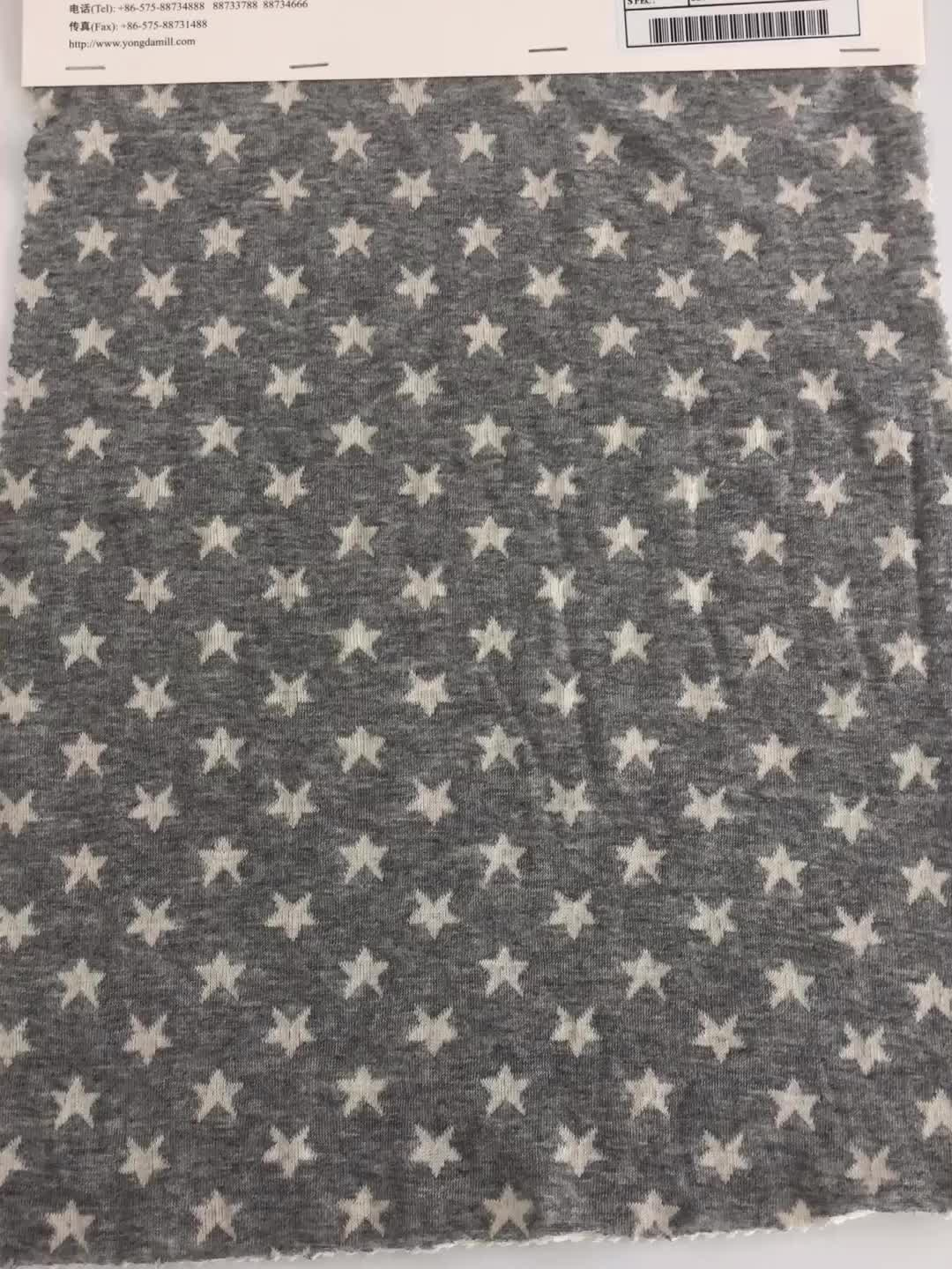 Factory wholesale gray star pattern knitting cotton jacquard fabric for garment