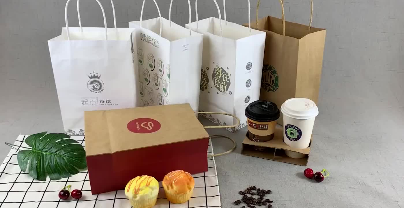 Fsc 認証工場カスタムデザイン小売食料品ショッピングキャリーバッグ包装リサイクル茶色のクラフト紙バッグツイストハンドル
