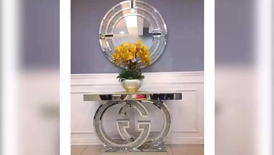 2020 Top Verkoop Woonkamer Mirrored Gg Ontwerp Met Verpletterd Diamant Console Tafel Hal Tafel Voor Thuis Hotel Winkel