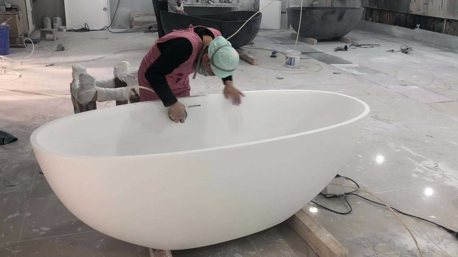Oval diseño mármol artificial soporte libre soaker baño personalizado de piedra de resina compuesta bañera fundición de piedra de superficie sólida bañera