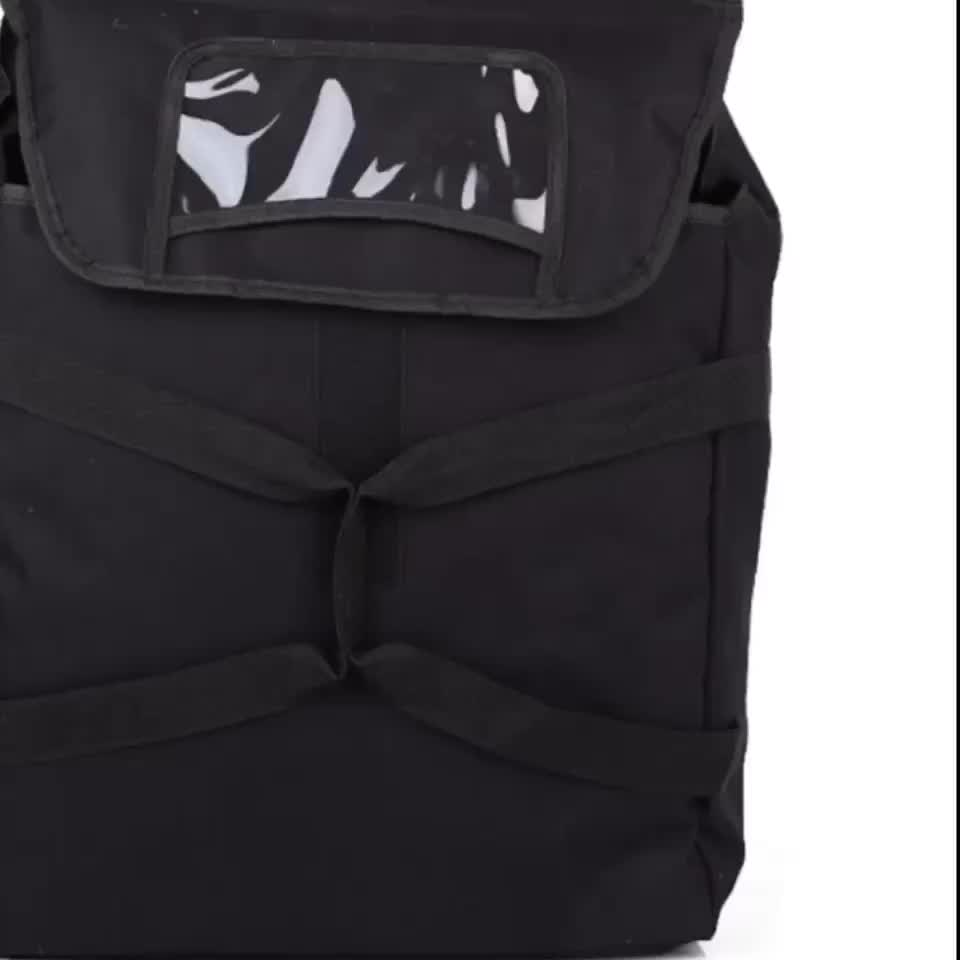 Food Delivery Bag Insulated Black Polyester Professional Pizza Delivery Bag Thick Insulation and Durable Construction