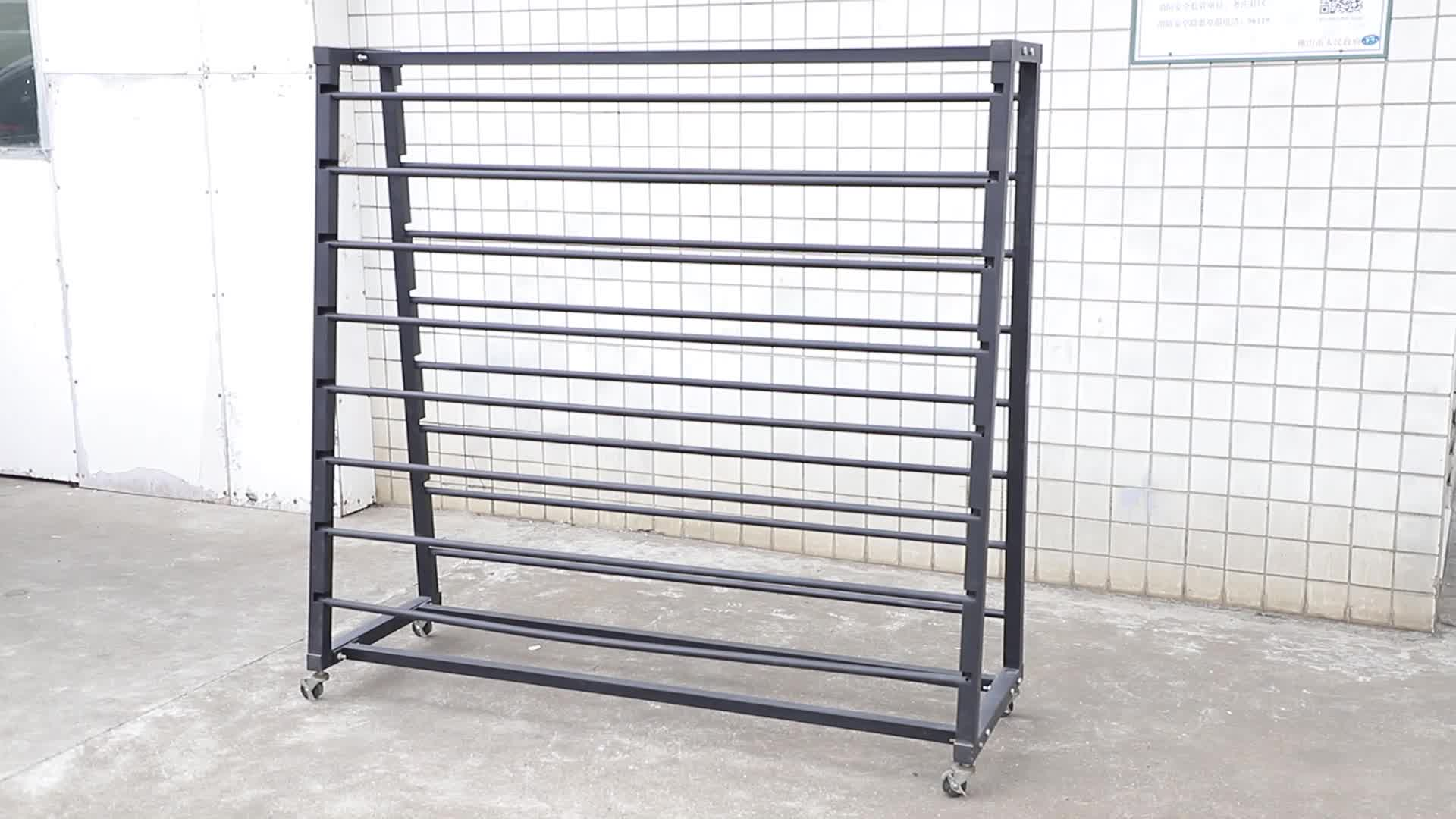 A-frame double-sided metal curtain display rack/fabric roll shop fitting