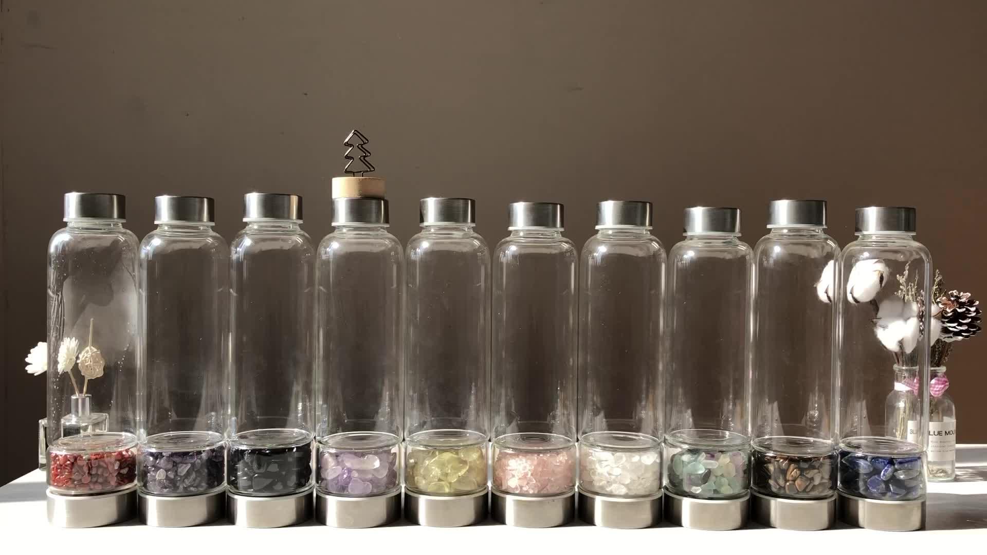 Новые продукты 2019 натуральный кварцевый стекло бутылка для воды с декоративным драгоценным камнем и крышкой из нержавеющей стали