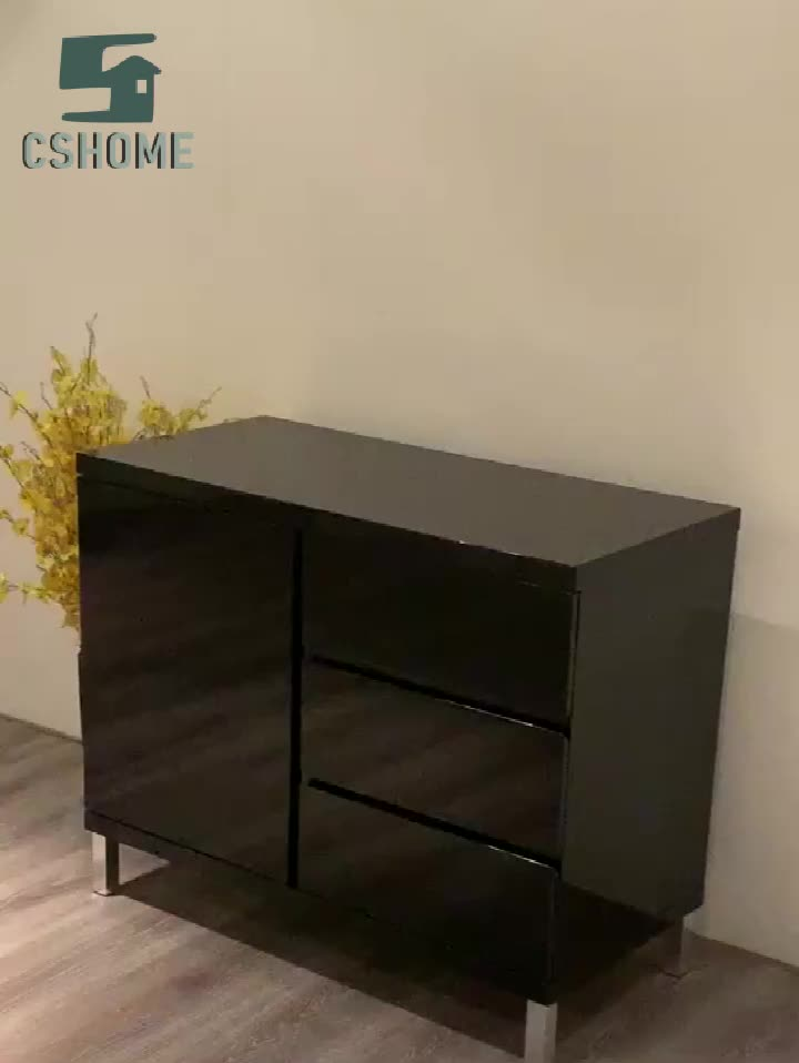 Simple Designed Small Buffet 1 Door 3 Drawers White Sideboard Furniture