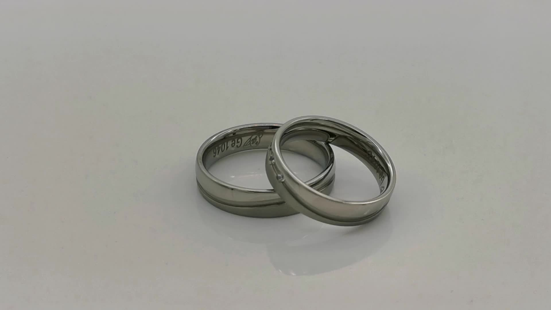 Simple fashion jewelry 2020 316L stainless steel wedding ring with two sides jewellery for couples