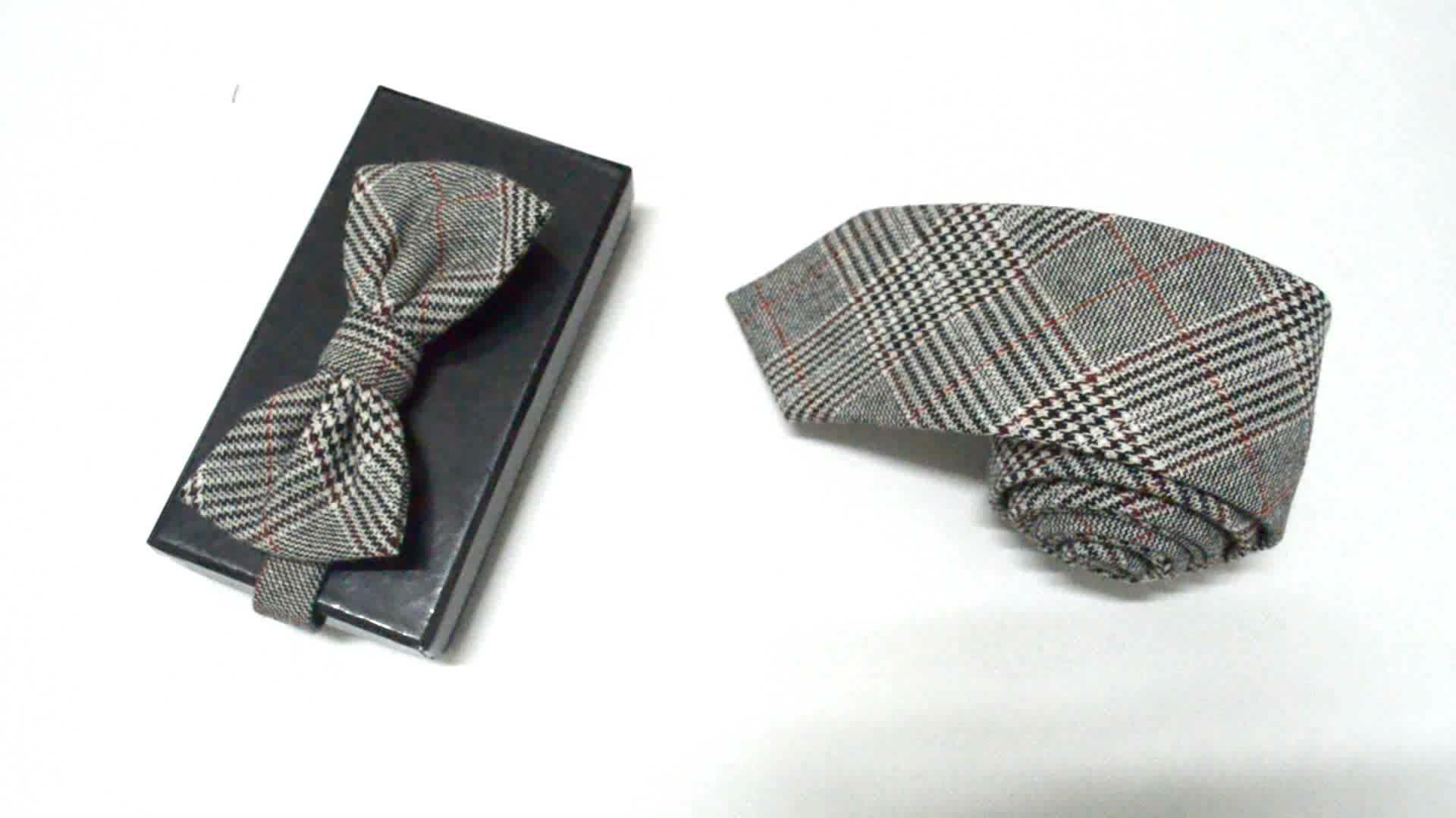 Vendita calda di Colore Puro di Lana Cravatte Bowtie Set Per Gli Uomini