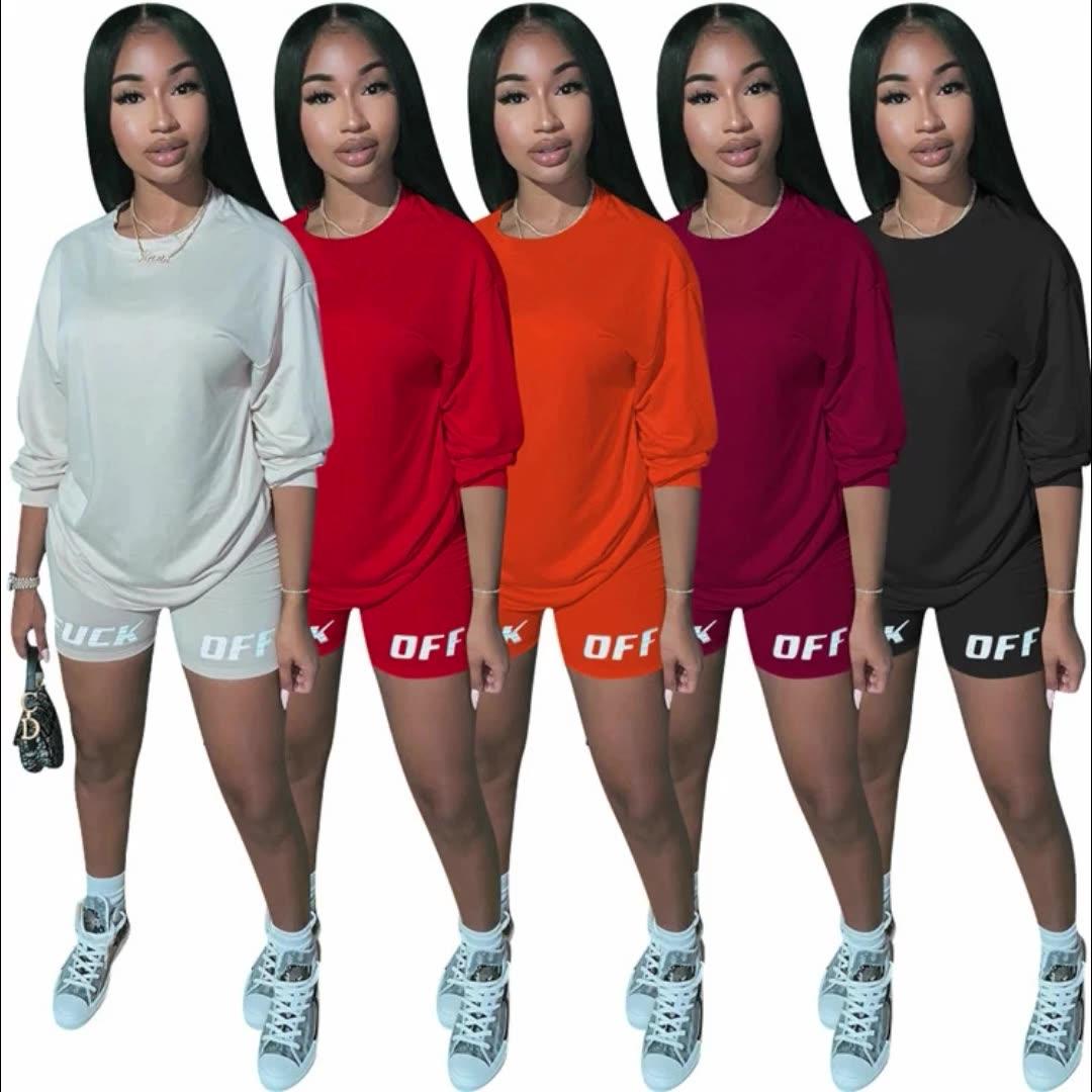 M9322 נשים אופנה בגדי 2 חתיכה מכתב מודפס תלבושת 2020 2 חתיכה מכנסיים סט