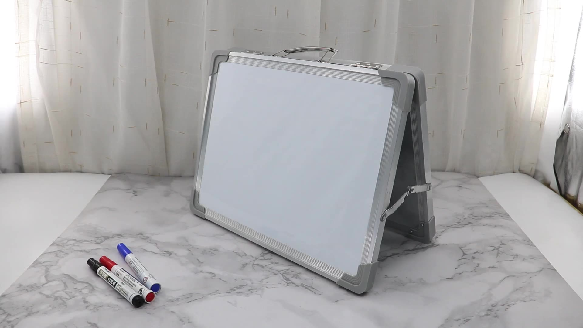 Small Desktop Foldable Dry Erase White Board - Portable Mini Double Sided Magnetic Whiteboard  for Home Office