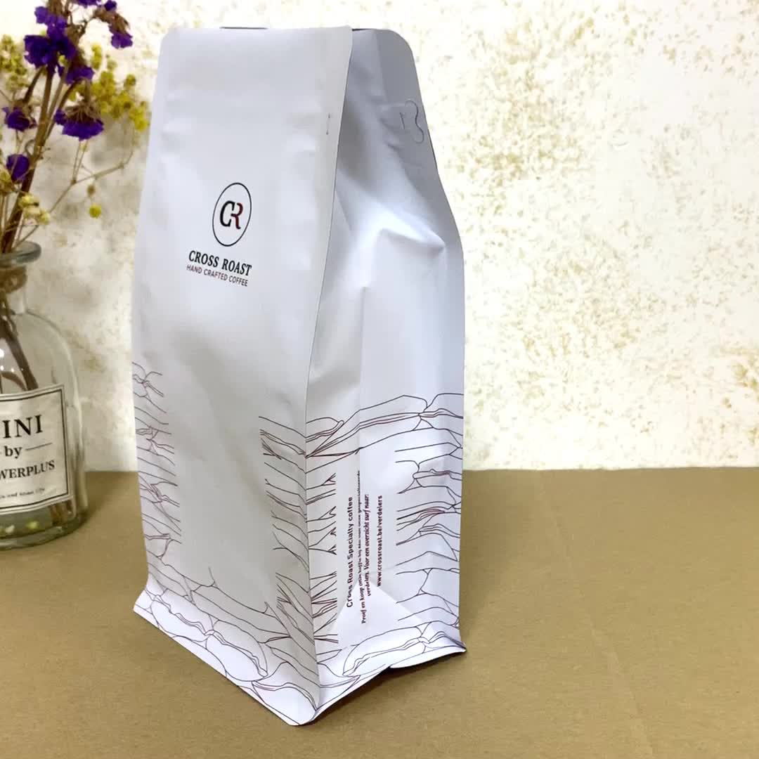 recyclable stand up pouches flat bottom coffee bean protein powder rice flour food packaging pouch