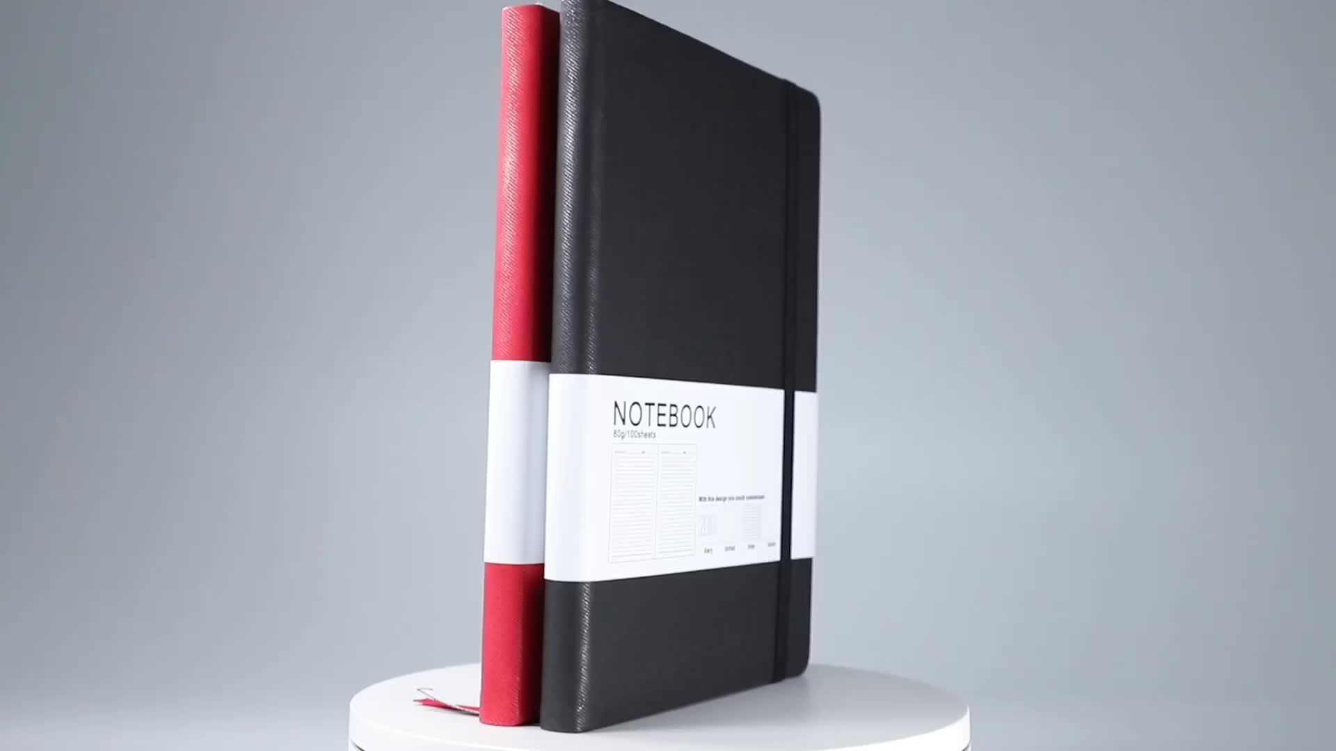 Custom journal 책 printing 와 ribbon 재활용 a5 pu leather 노트북 와 펜 노트북 및 펜