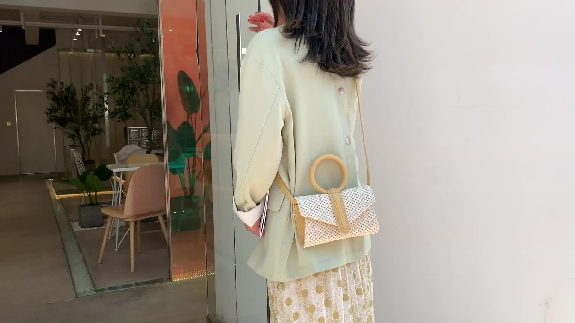 Straw handle handbag female messenger bag shoulder crossbody clutch bag