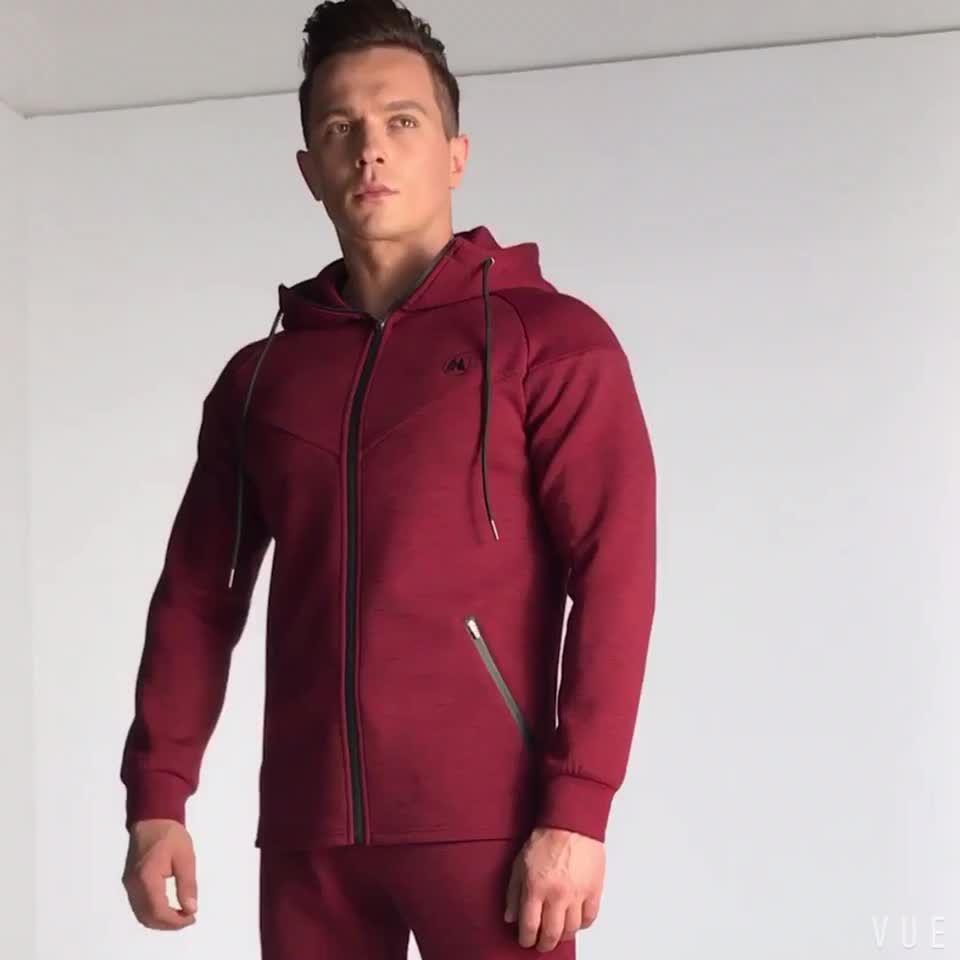 Custom wholesale high quality thicker  fleece mens two piece cotton hoodies tracksuit
