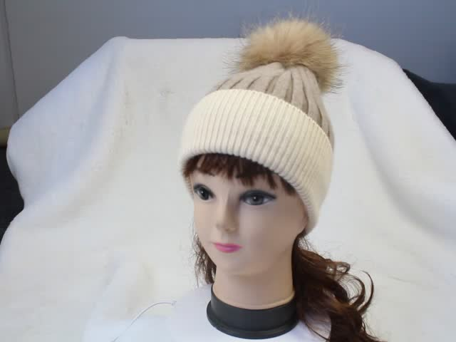 Angora Winter Beanie Hats Real Fur Pom Pom Women's Beanie Hat Custom  angora  double colour  hat