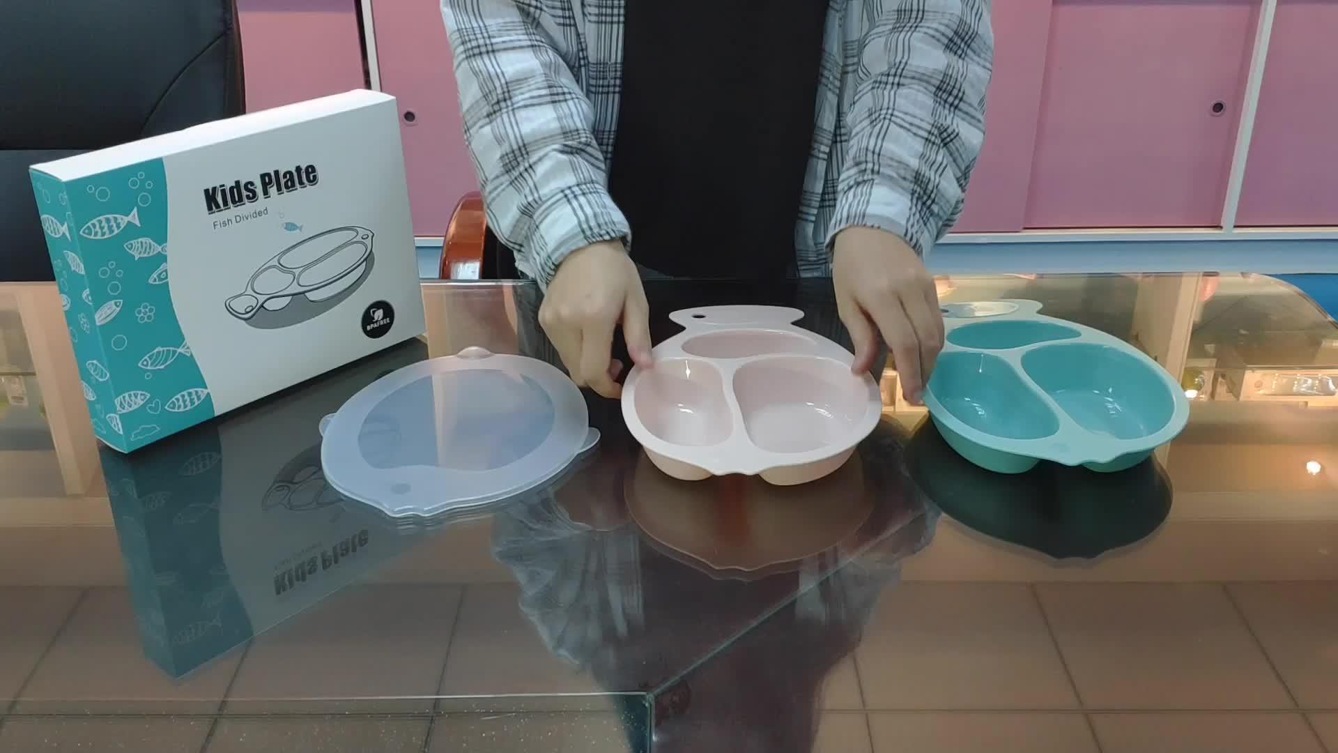 מכירה לוהטת PP תינוק מזון צלחת מחיצת צלחות קל נקי מנות ילדים עבור נסיעות