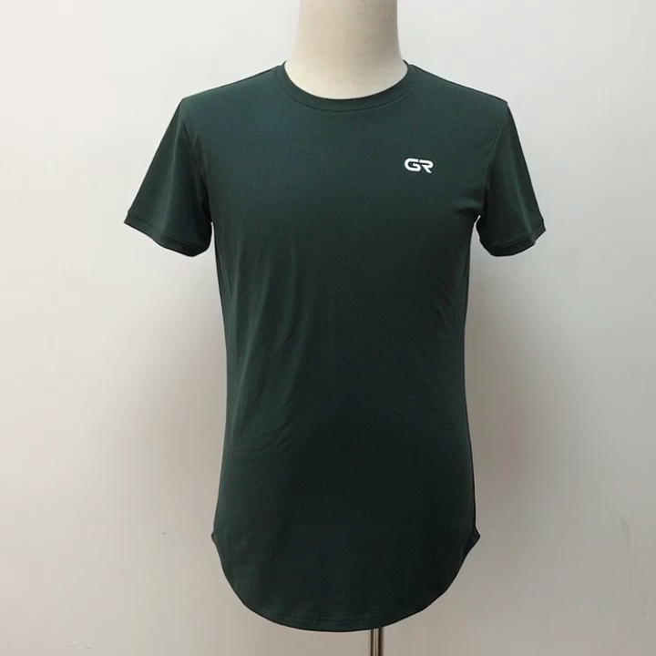 95% Cotton 5% Elastane Scalloped Hem Slim Fit Custom Gym Fitness Men T Shirt