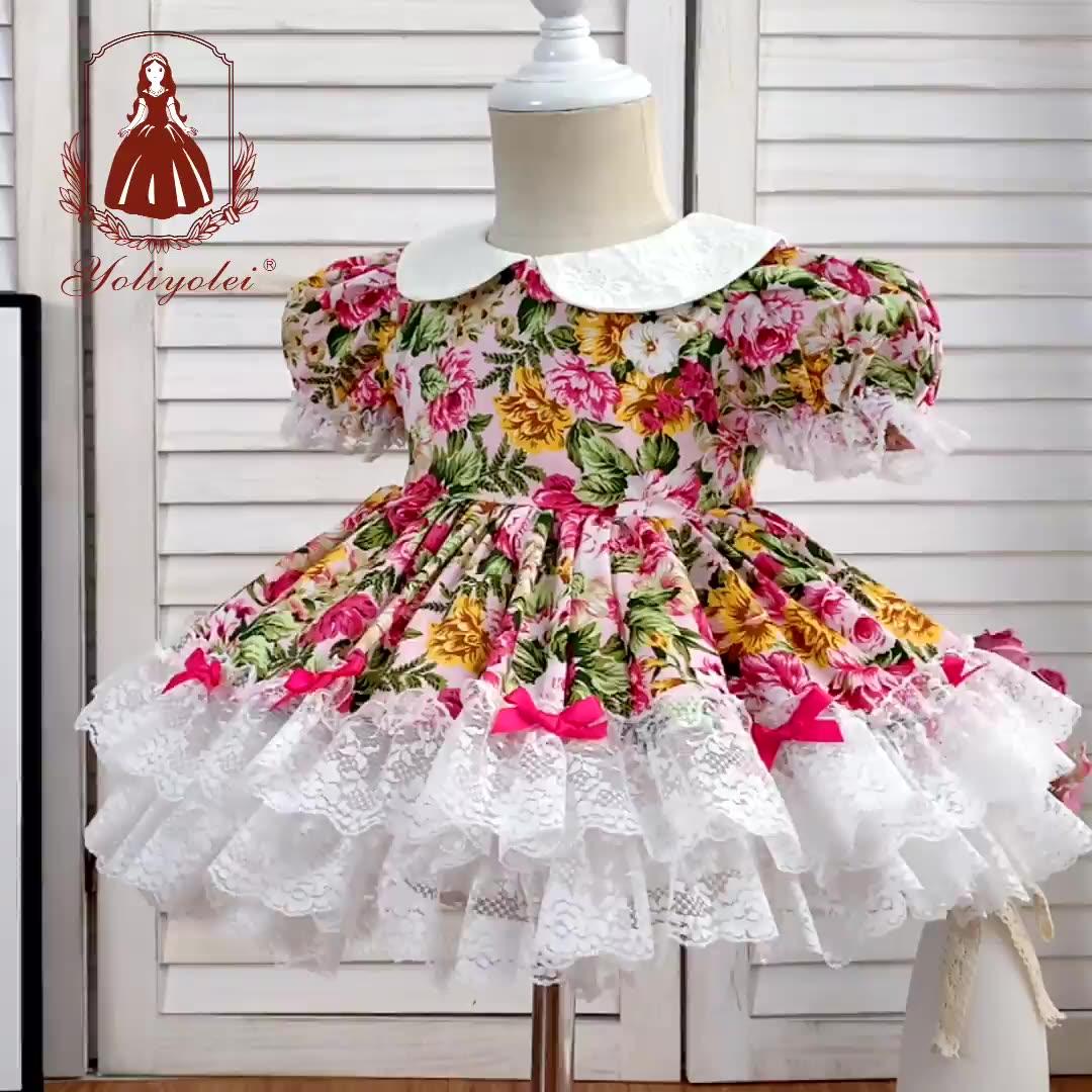 Spanish floral baby dress 2 piece