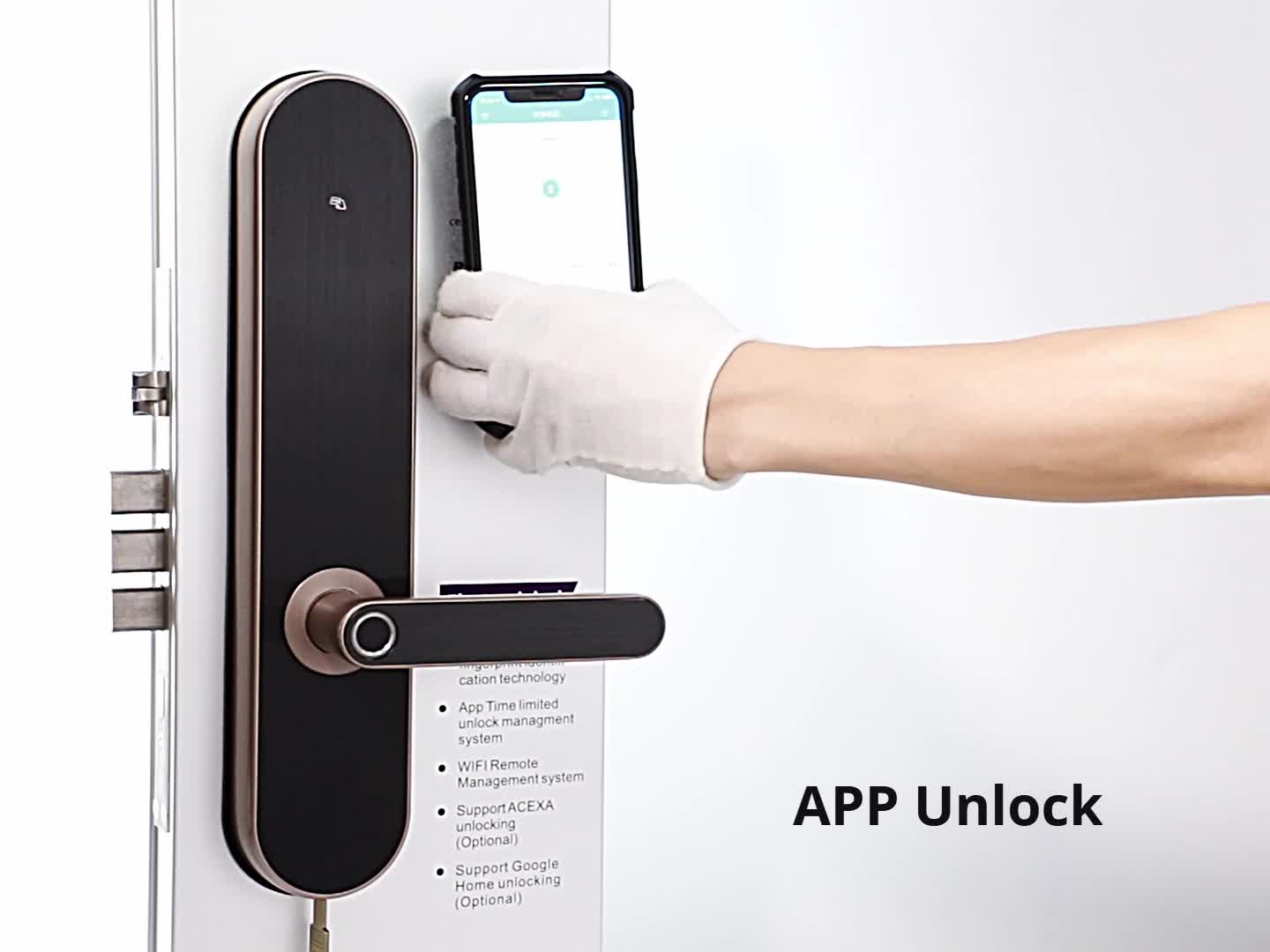 Smart Fingerprint Digital Bluetooths/WIFI Door Lock by Unlocking TTLock, Key, Code and Fingerprint