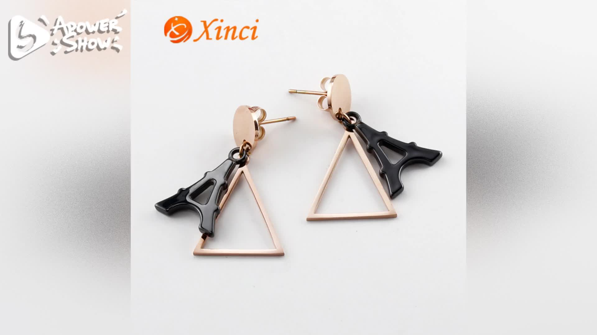 White and Black Ceramic Pendant Stainless Steel Leaf Earring Wedding Jewelry Set Gold Plated Jewelry